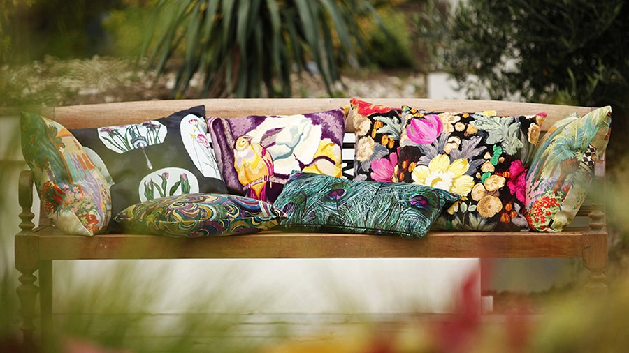 Mixture of vibrant cushions